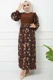 Cam Kırığı Elbise 7063- Kahverengi