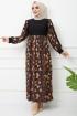 Cam Kırığı Elbise 7063- Siyah