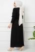 Tokalı Elbise 7064- Siyah