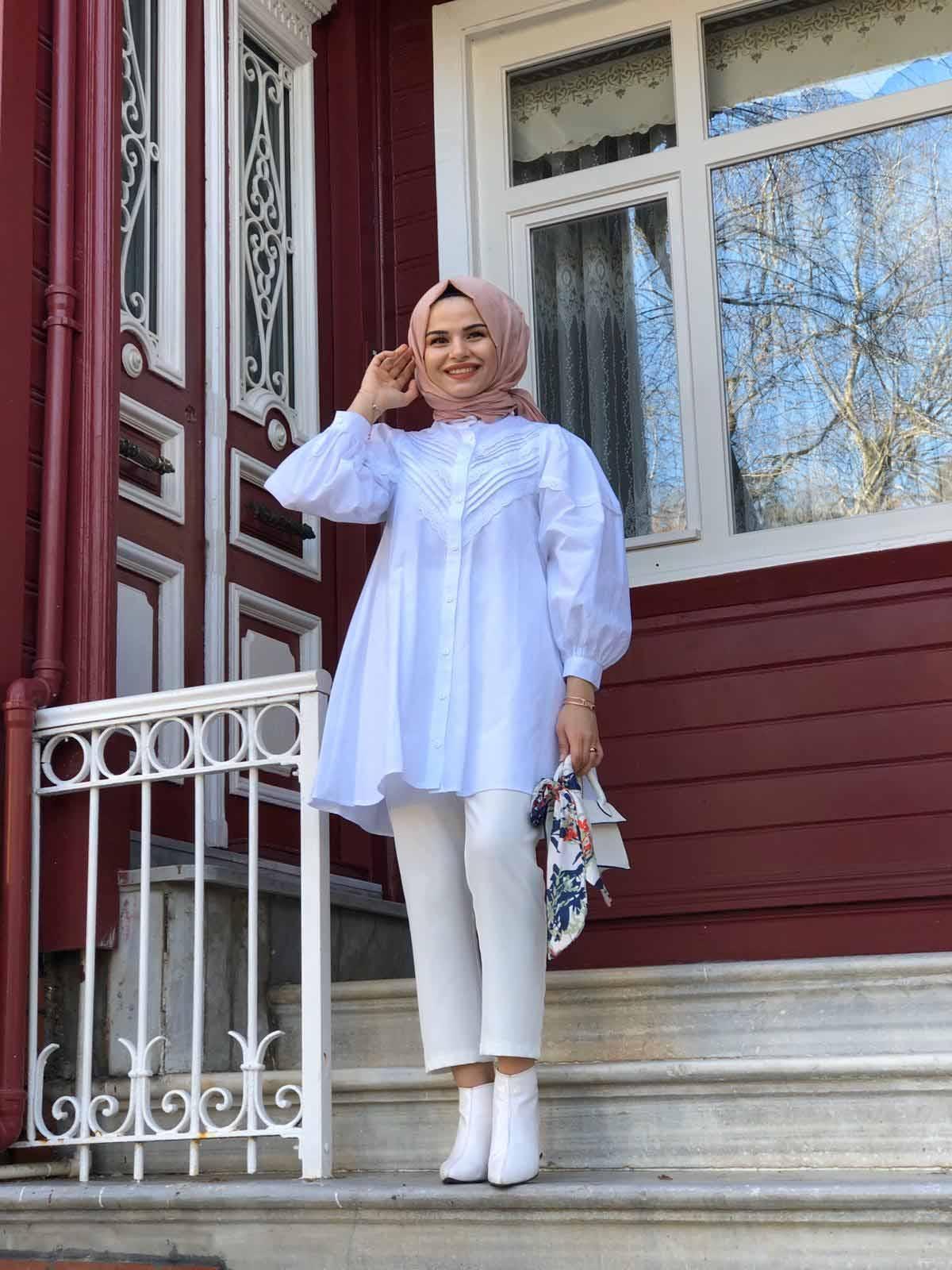 Nakışlı Gömlek - Beyaz
