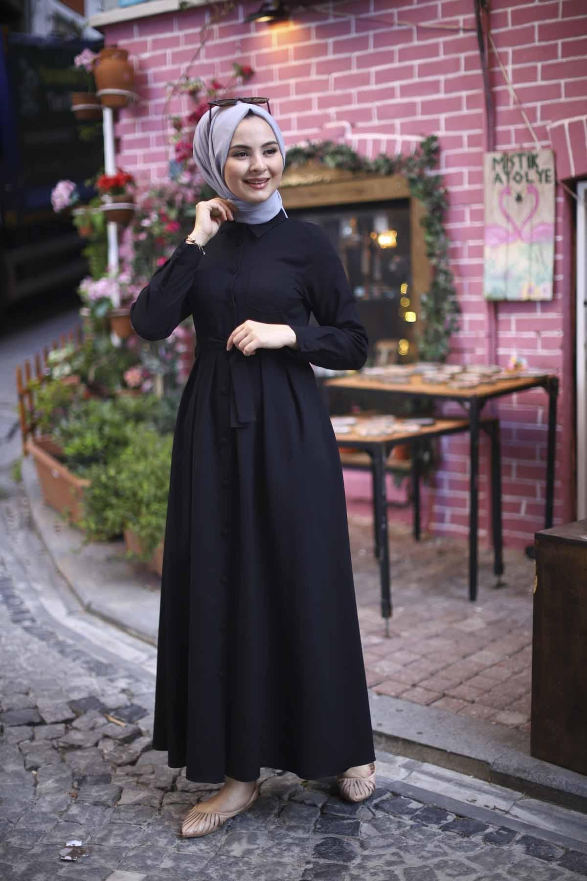 Boydan Düğmeli Elbise - Siyah