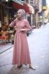 Boydan Düğmeli Elbise - Gül Kurusu