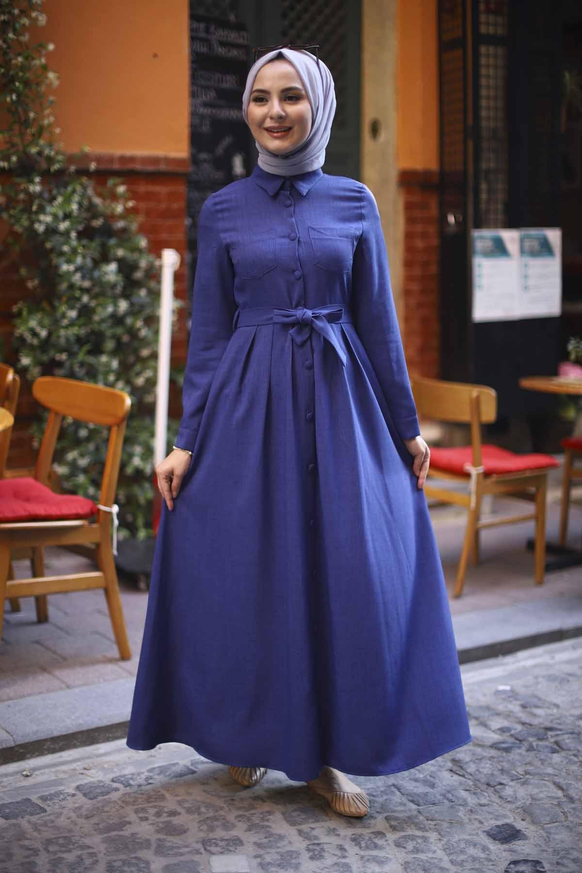 Boydan Düğmeli Elbise - İndigo Mavisi