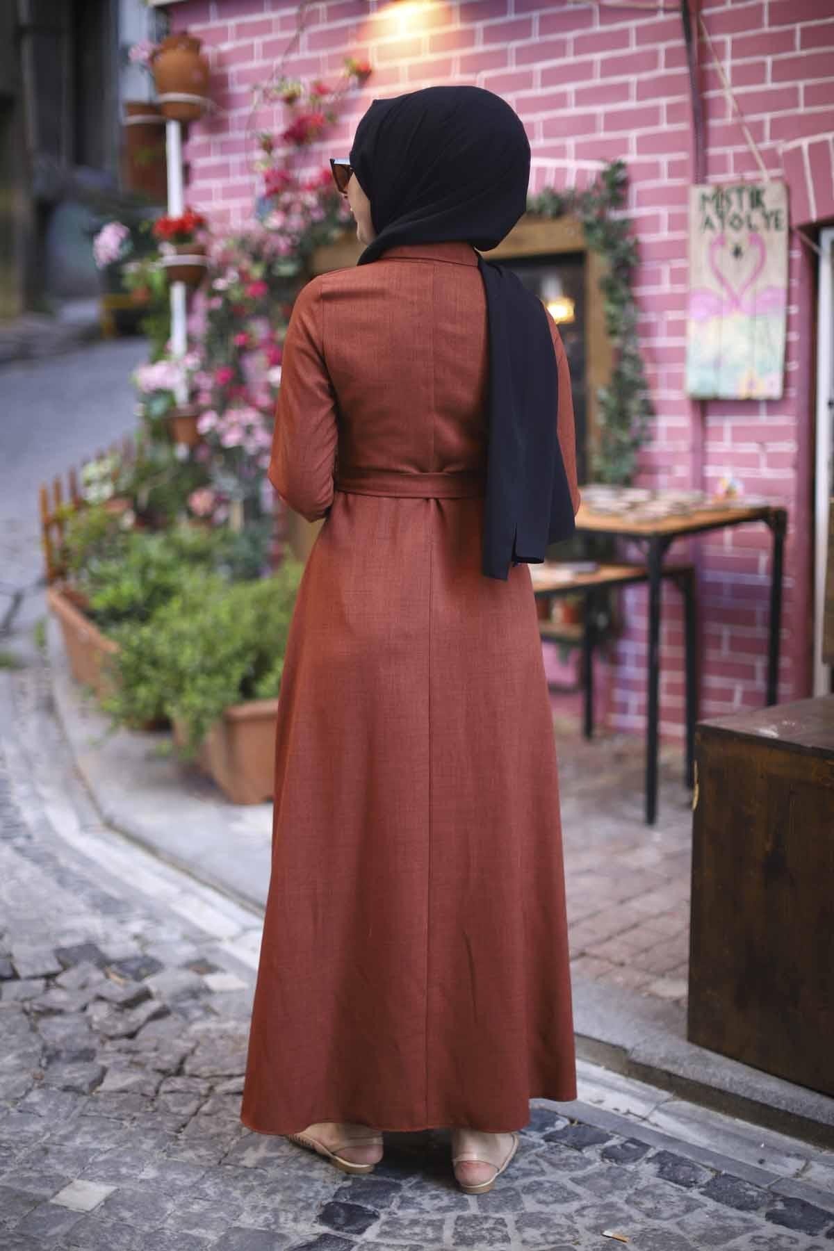 Boydan Düğmeli Elbise - Kiremit