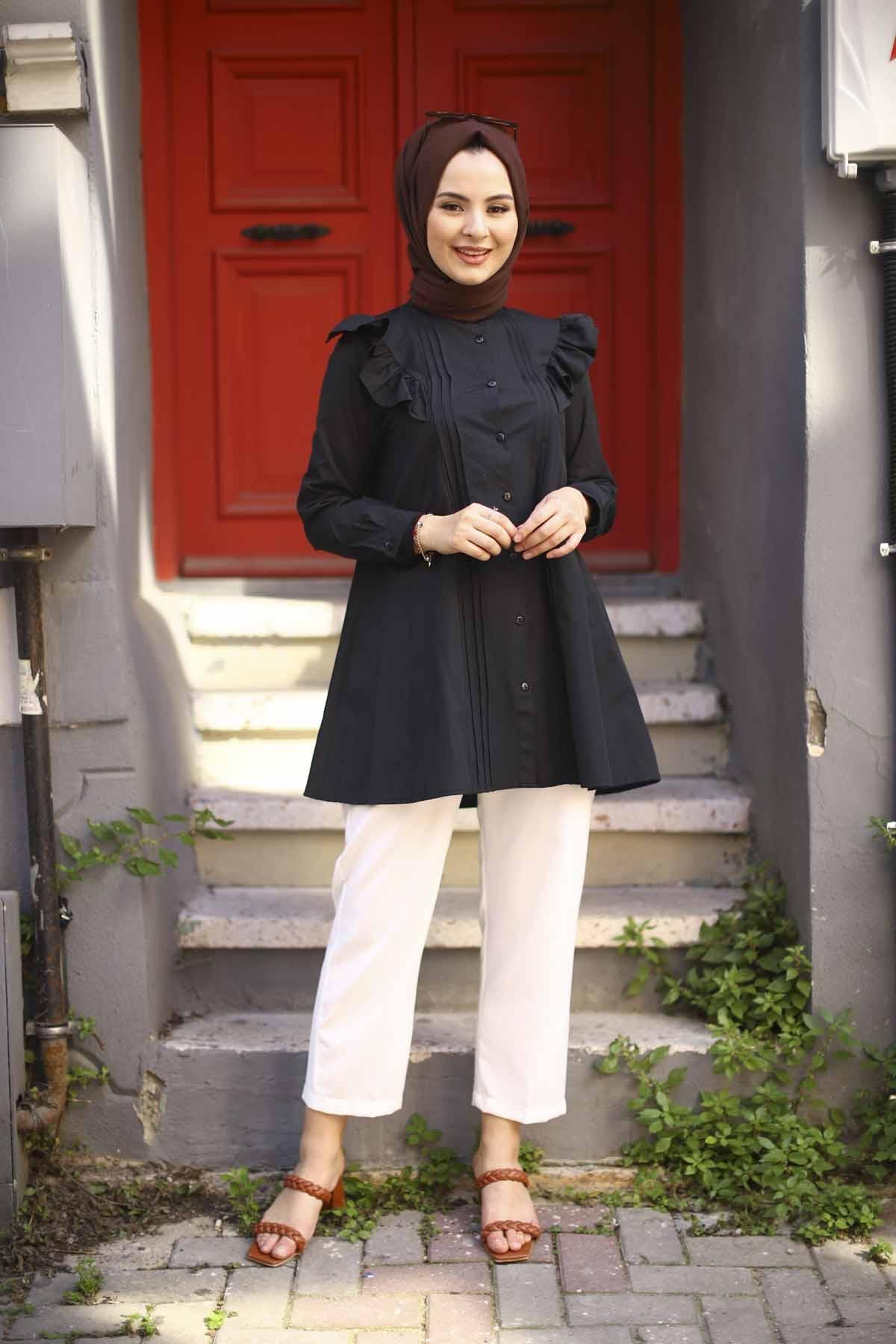 Boydan Düğmeli Nervürlü Tunik - Siyah