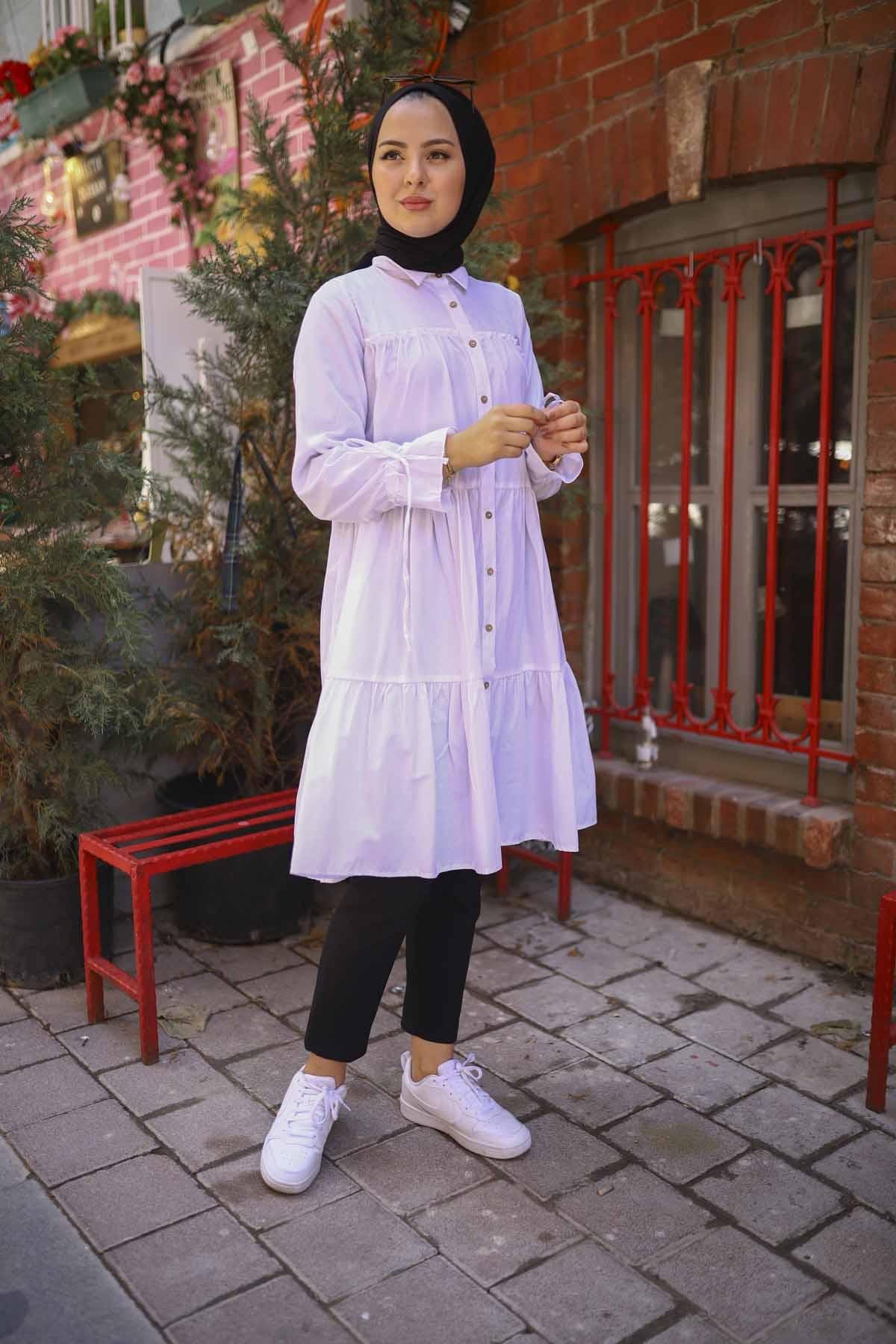 Kolu Fiyonklı Tunik - Beyaz