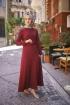 Nervürlü Kemerli Elbise - Bordo