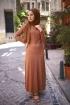 Nervürlü Kemerli Elbise - Şeftali