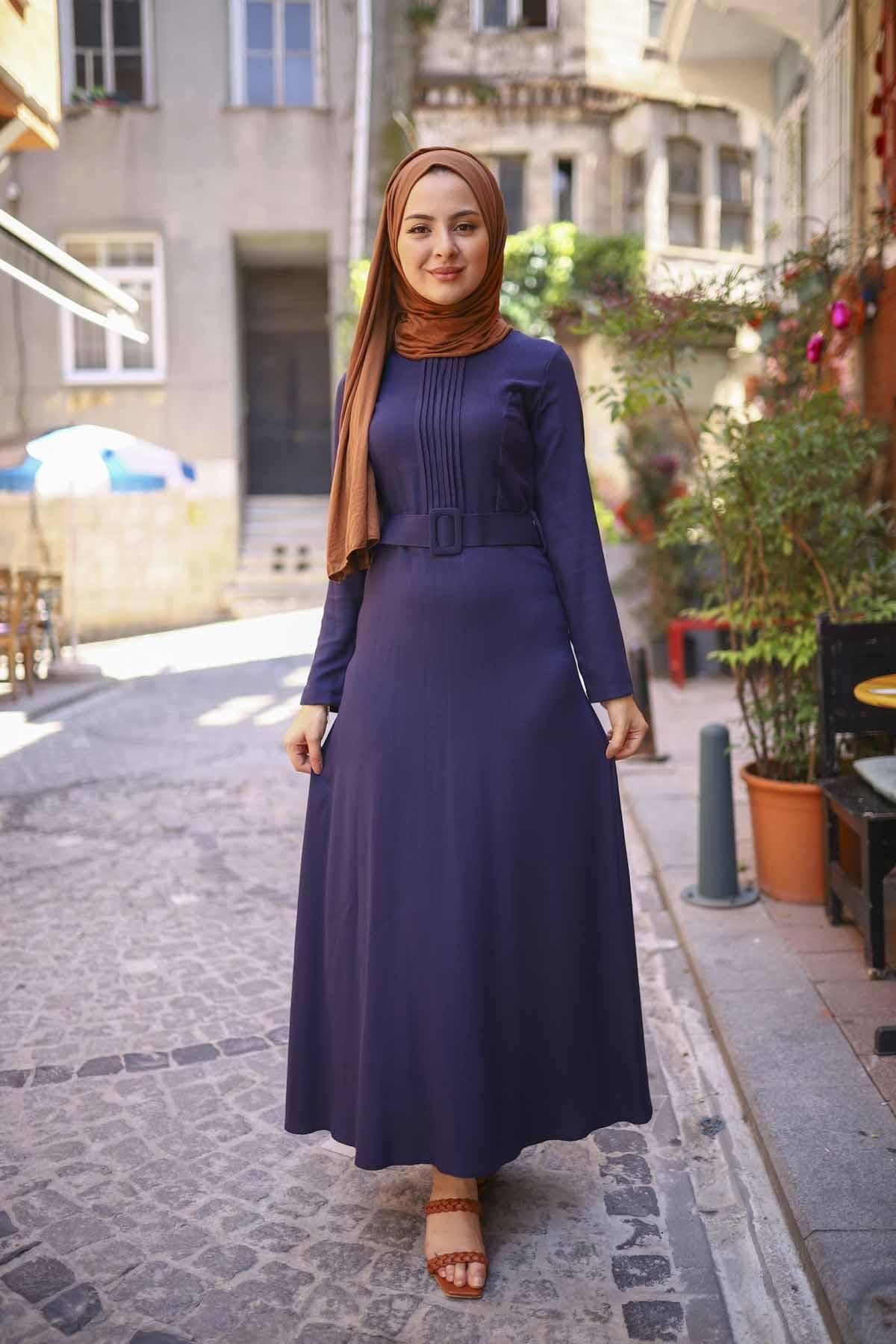 Nervürlü Kemerli Elbise - Lacivert