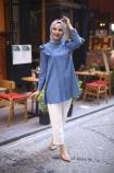 Boydan Düğmeli Nervürlü Tunik - İndigo Mavisi