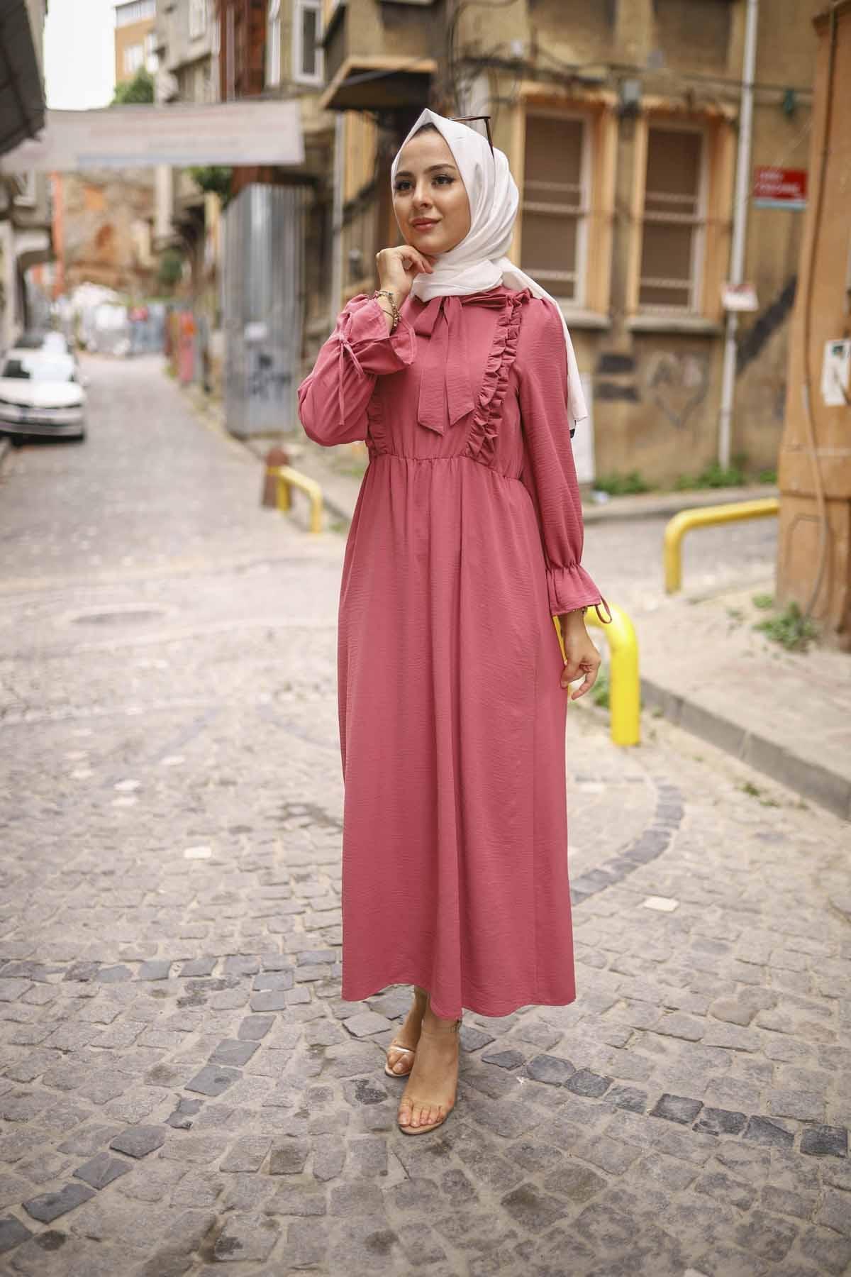 Fırfırlı Aerobin Elbise - Şeker Pembesi