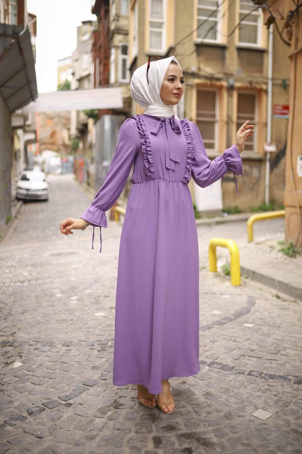 Fırfırlı Aerobin Elbise - Lila