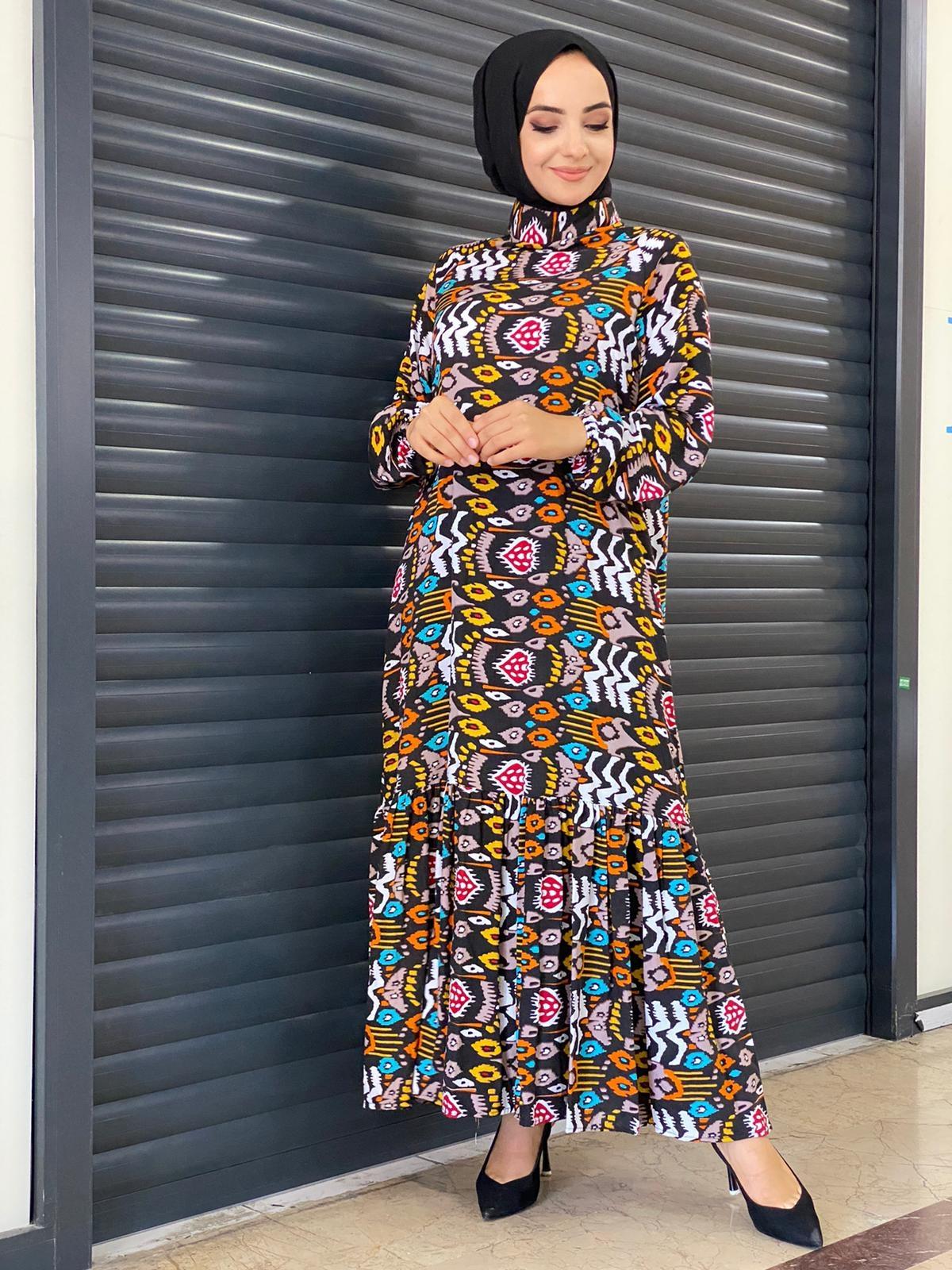 Kilim Desenli Fırfırlı Elbise - Taba