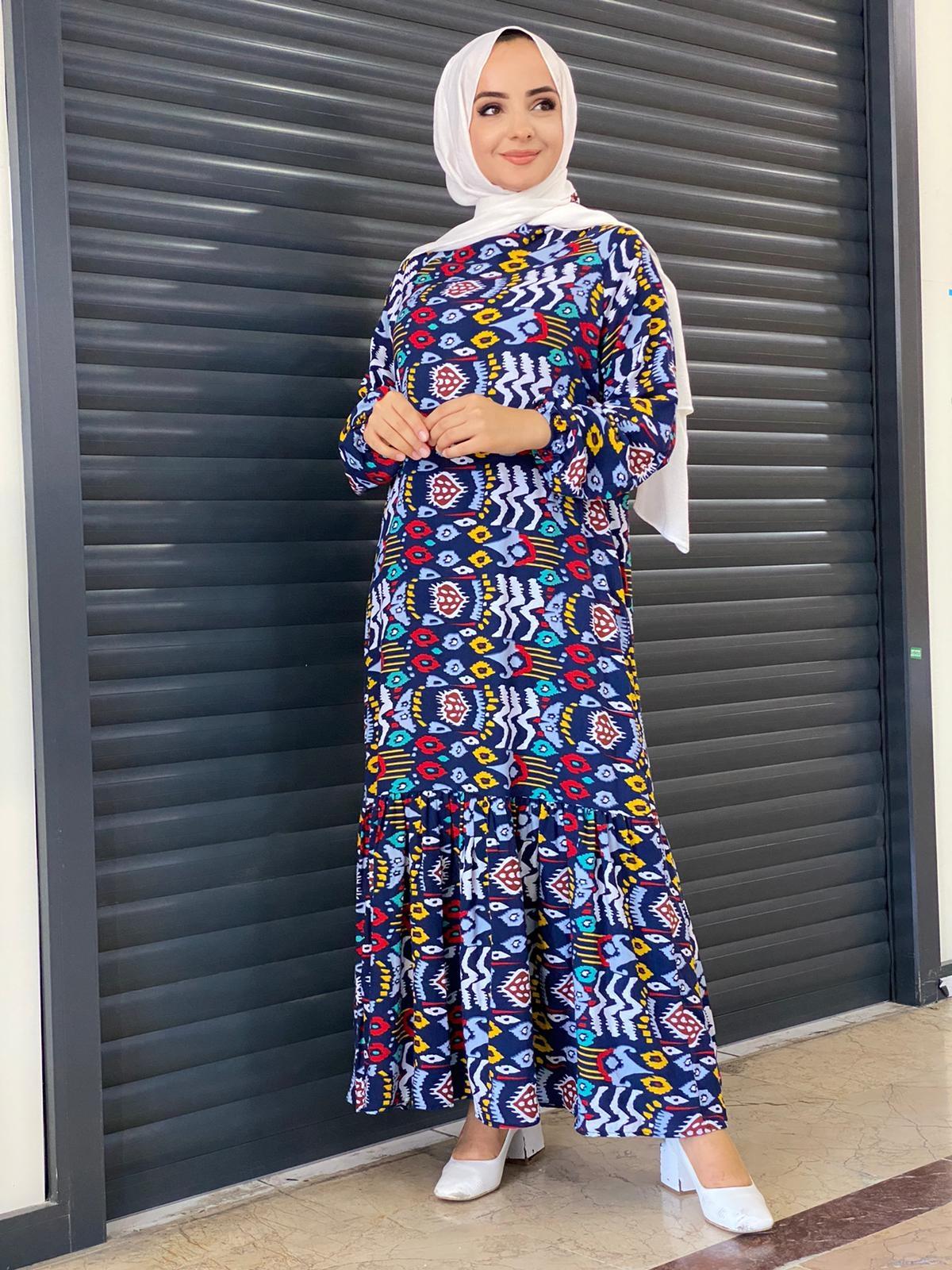 Kilim Desenli Fırfırlı Elbise - Lacivert