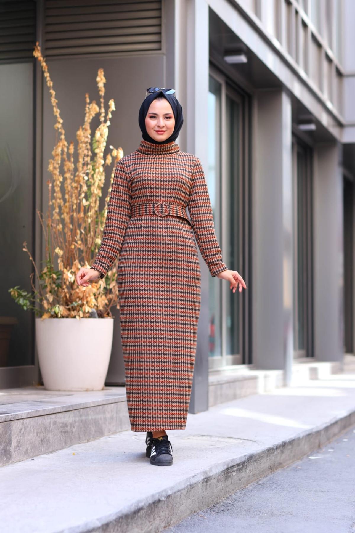 Jakarlı Örme Elbise - Taba