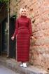 Jakarlı Örme Elbise - Bordo