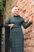 Jakarlı Örme Elbise - Yeşil