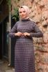 Jakarlı Örme Elbise - Gri