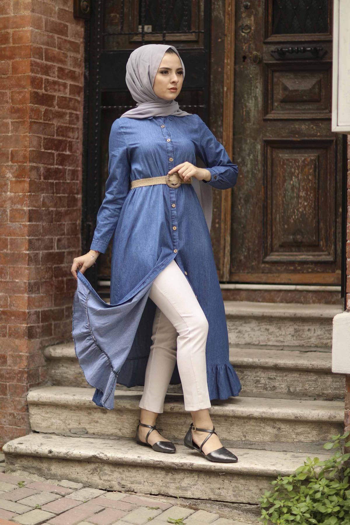 Hasır Kemerli Fırfırlı Kot Elbise