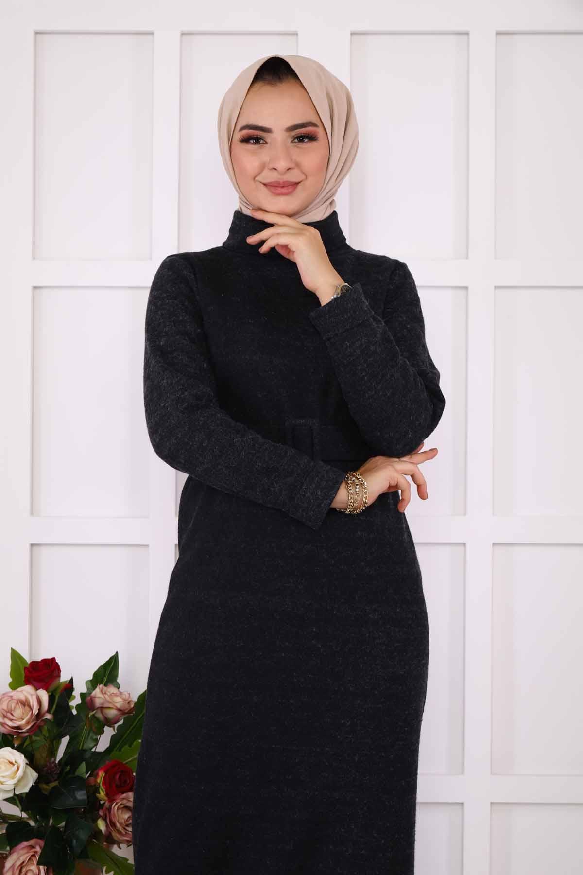 Kendinden Kemerli Elbise - Siyah