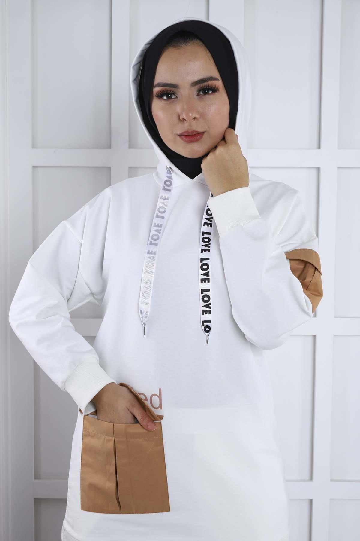 Kapşonlu Eşofman Takım - Beyaz