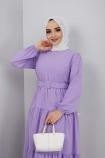 Kemer Detaylı Ponpon İşlemeli Elbise - Lila