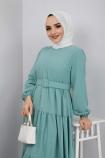 Kemer Detaylı Ponpon İşlemeli Elbise - Mint Yeşili
