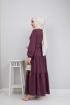 Kemer Detaylı Ponpon İşlemeli Elbise - Mürdüm