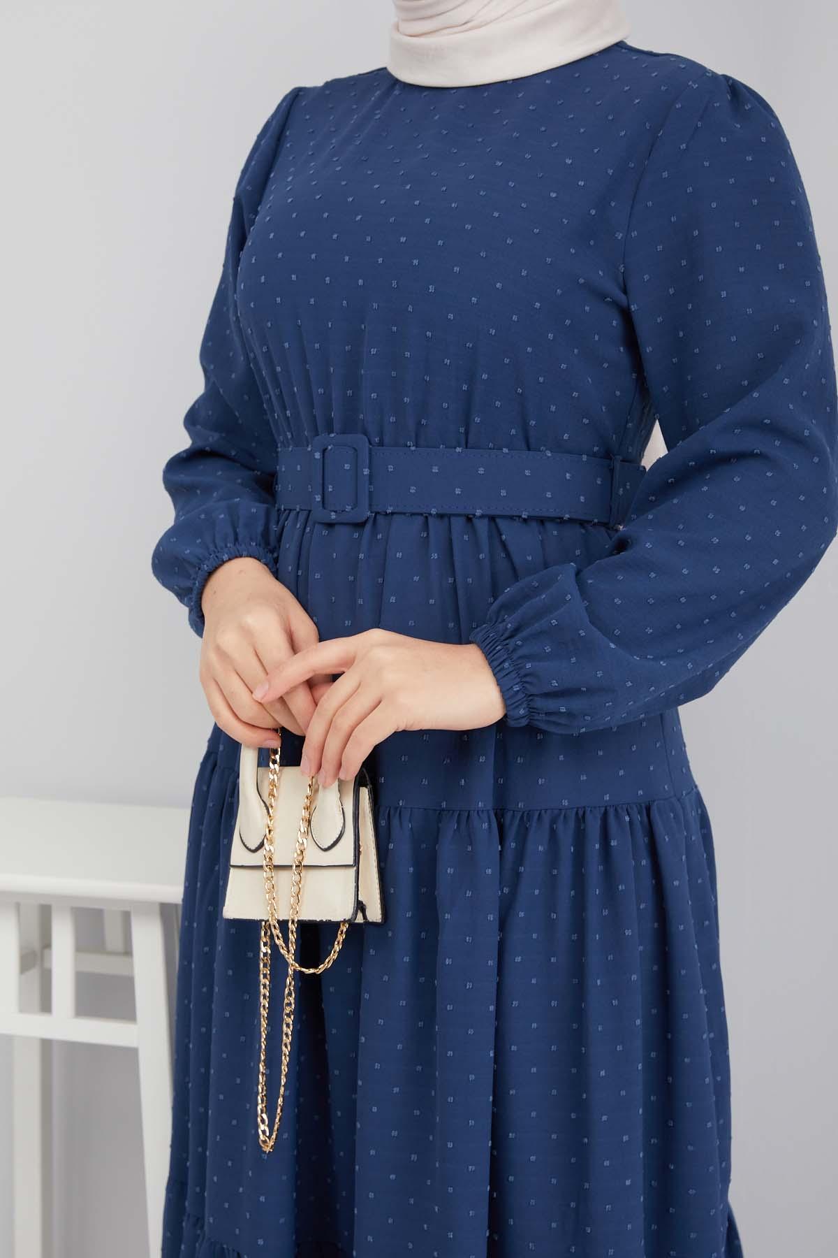 Kemer Detaylı Ponpon İşlemeli Elbise - Mavi