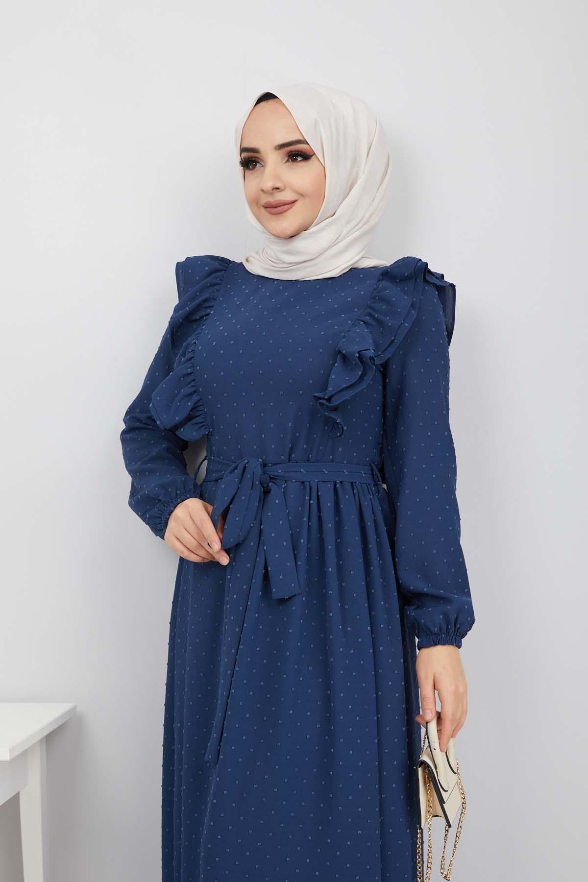 Ponpon İşlemeli Prenses Elbise - Mavi