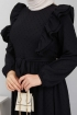 Ponpon İşlemeli Prenses Elbise - Siyah