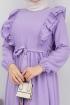 Ponpon İşlemeli Prenses Elbise - Lila