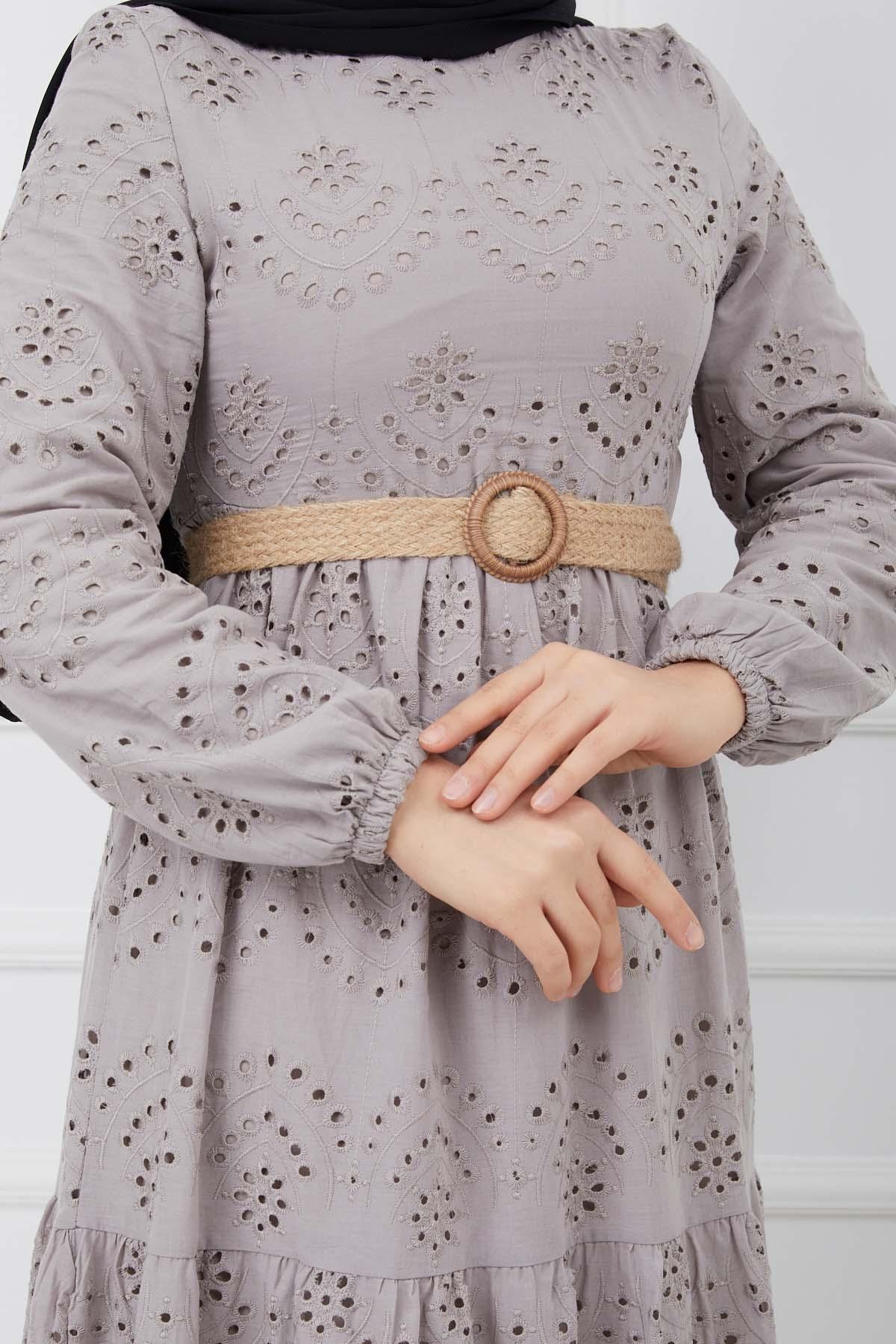 Güpürlü Elbise - Gri