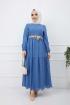 Güpürlü Elbise - Mavi