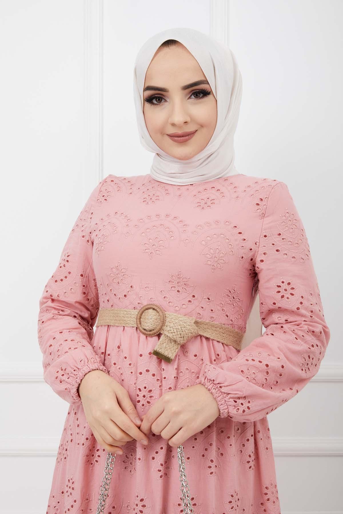 Güpürlü Elbise - Gül Rengi