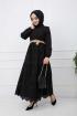 Güpürlü Elbise - Siyah
