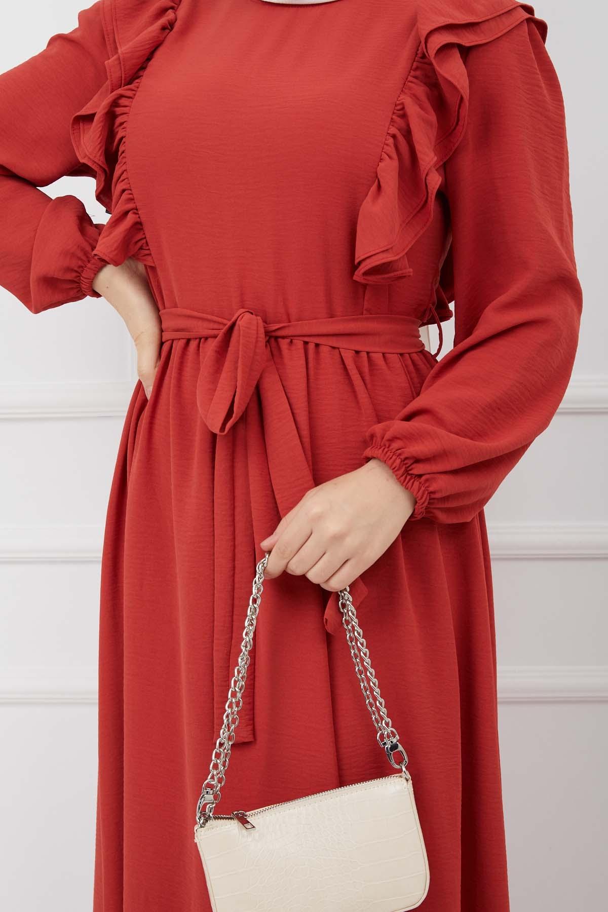 Fırfırlı Sultan Elbise - Nar Çiçeği