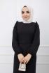 Fırfır Detaylı Kemerli Kalem Elbise - Siyah