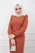 Fırfır Detaylı Kemerli Kalem Elbise - Kremit