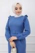 Fırfır Detaylı Kemerli Kalem Elbise - Mavi