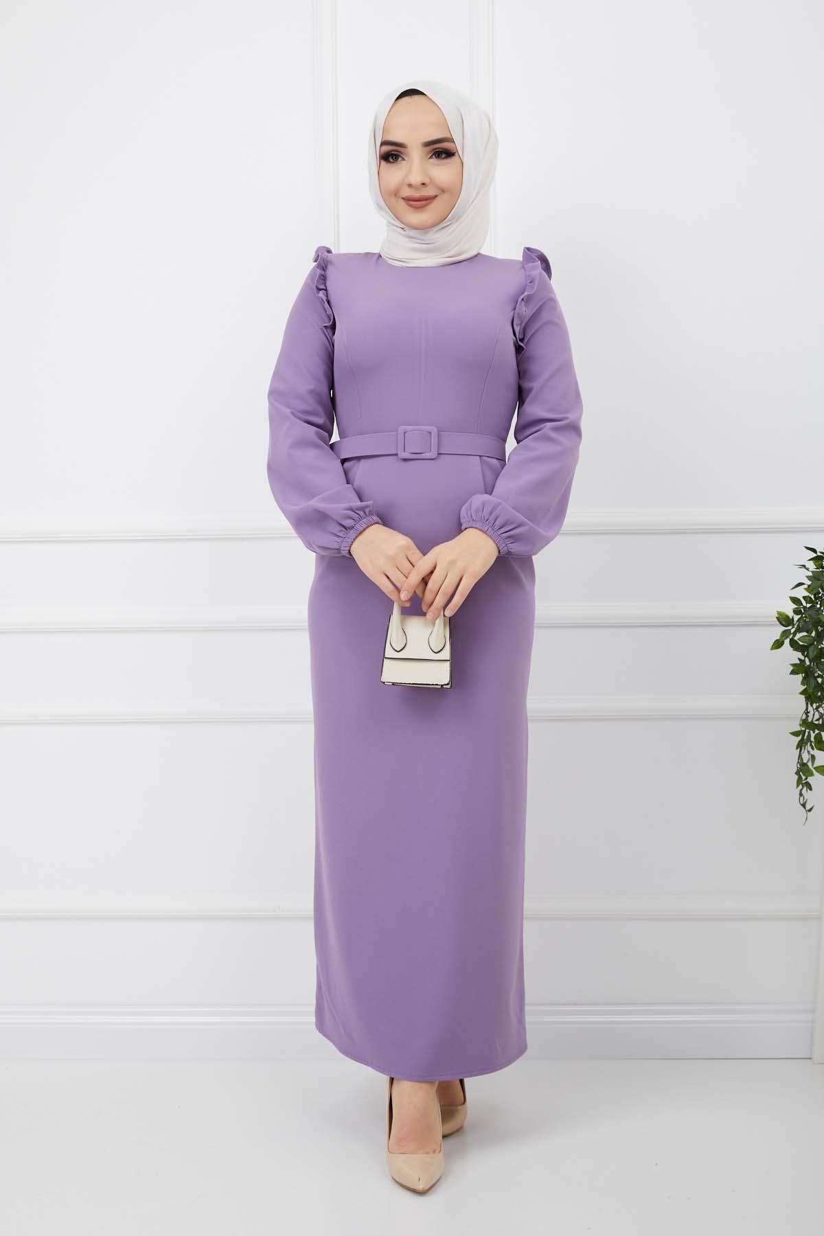 Fırfır Detaylı Kemerli Kalem Elbise - Lila
