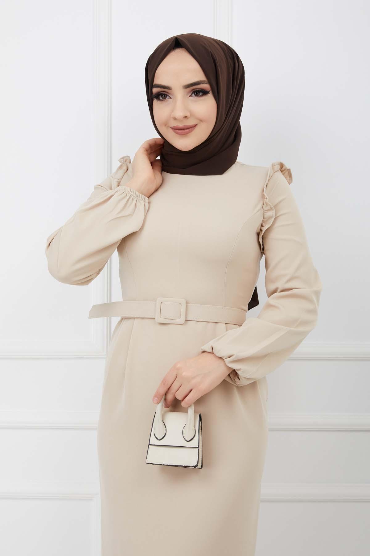 Fırfır Detaylı Kemerli Kalem Elbise - Taş