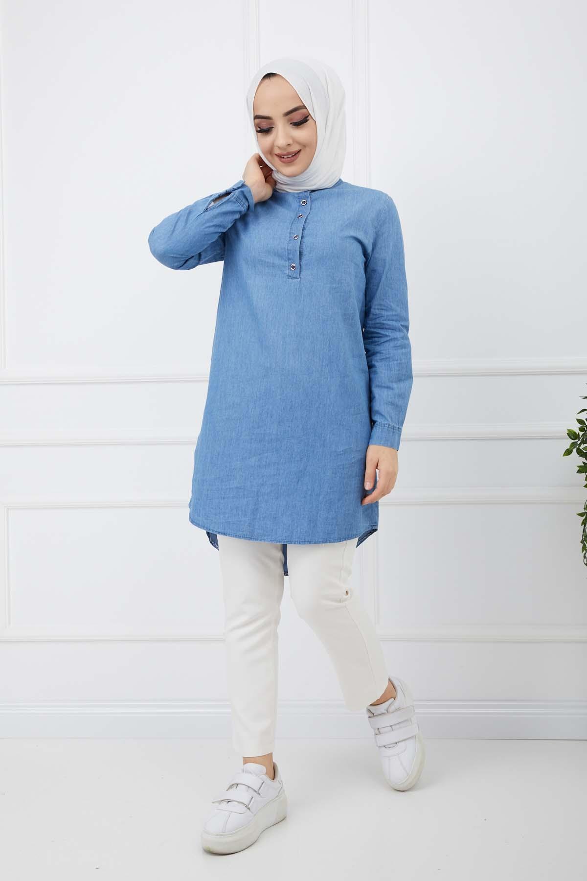 Düğme Detaylı Kot Gömlek - Mavi