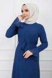 Pilise Detaylı Elbise - Mavi