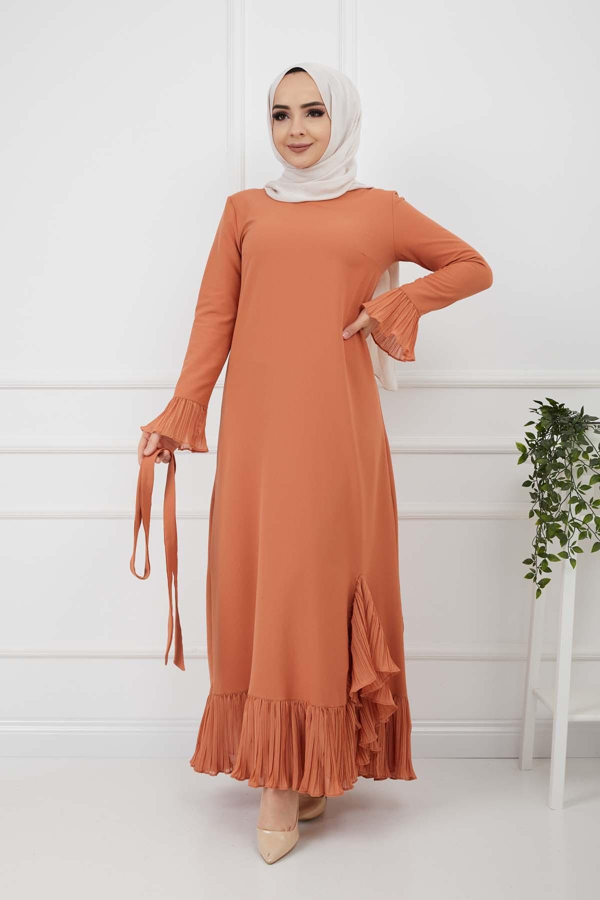Pilise Detaylı Elbise - Kremit