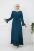 Pilise Detaylı Elbise - Petrol Mavisi