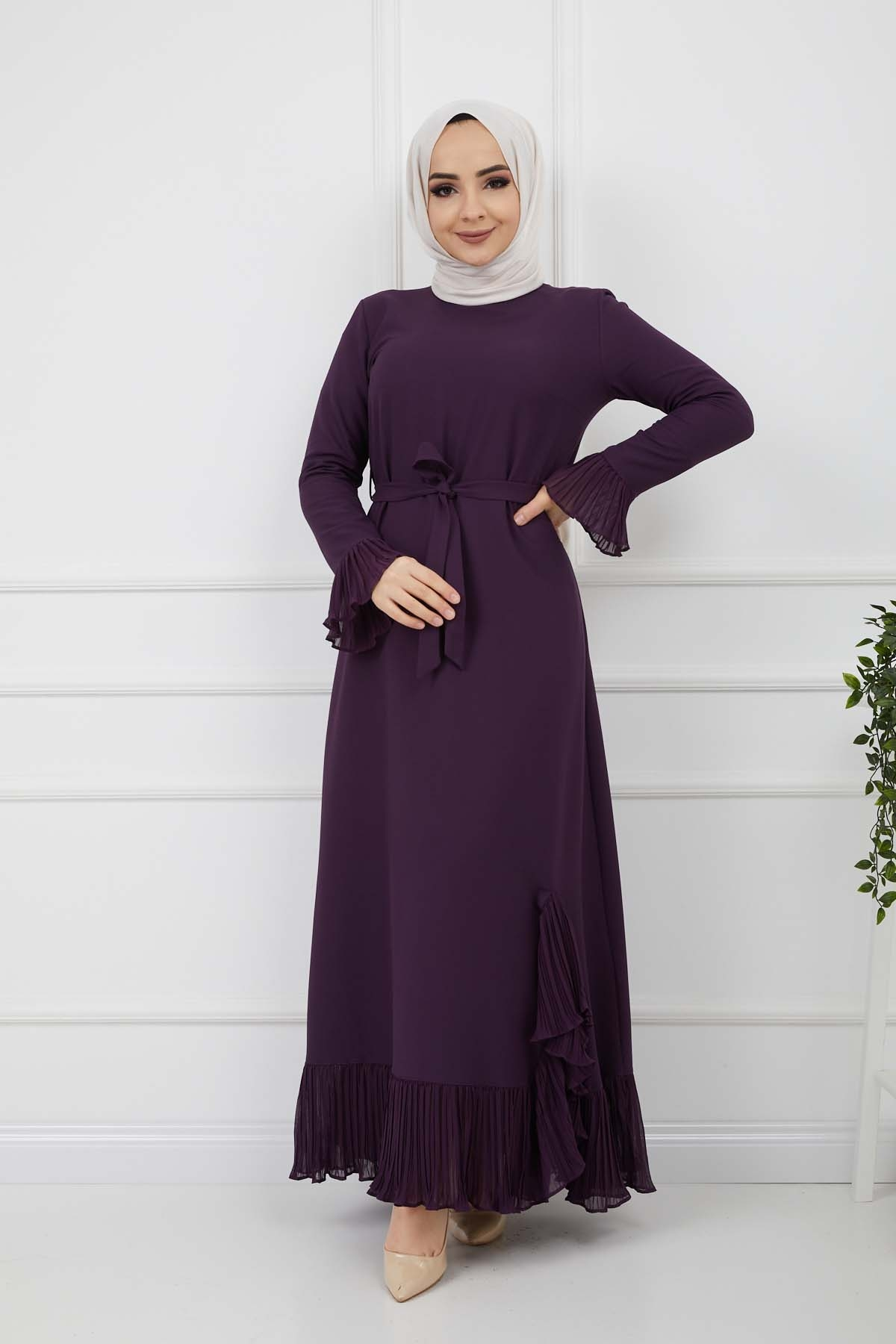 Pilise Detaylı Elbise - Mor