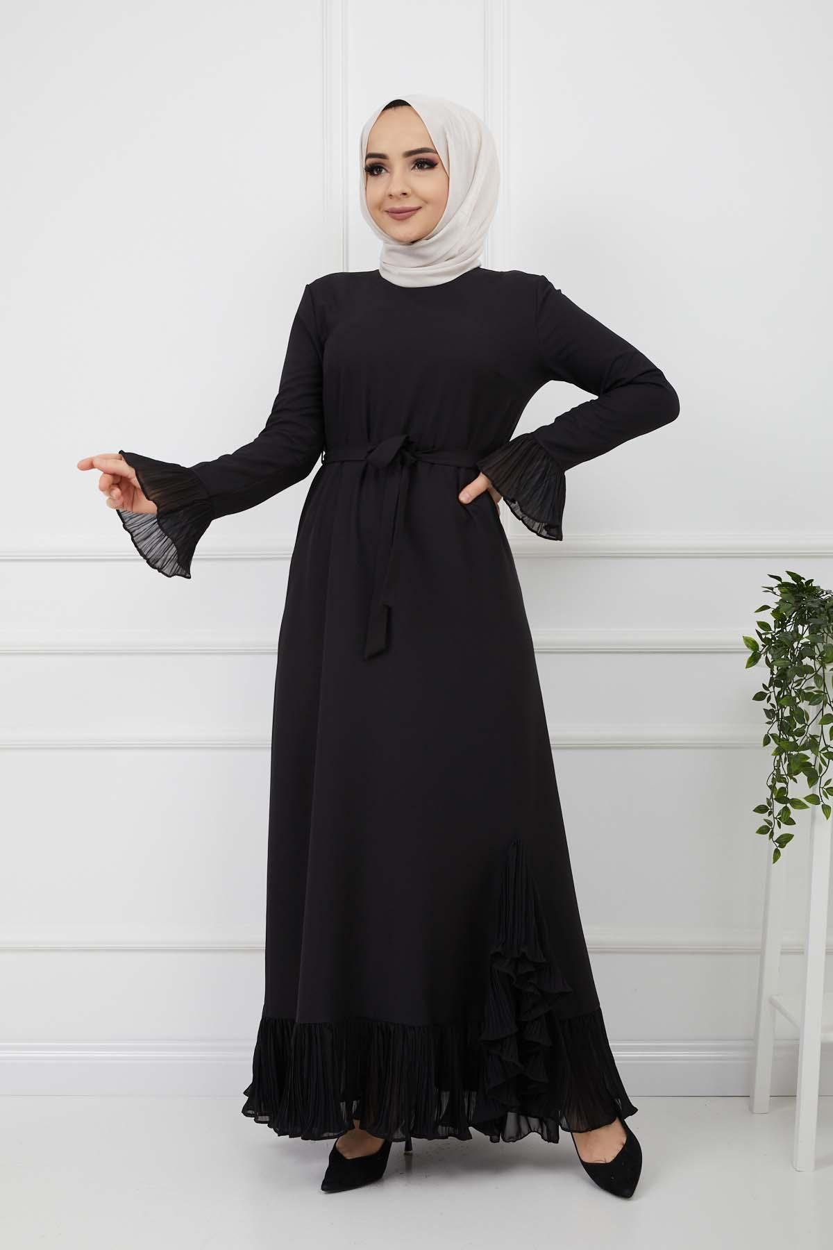 Pilise Detaylı Elbise - Siyah
