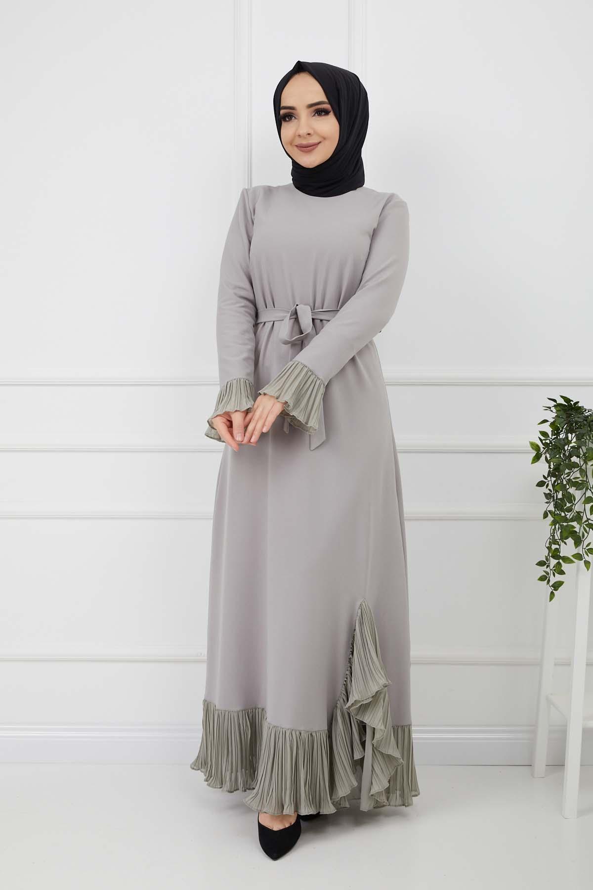 Pilise Detaylı Elbise - Gri