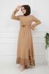 Pilise Detaylı Elbise - Bej